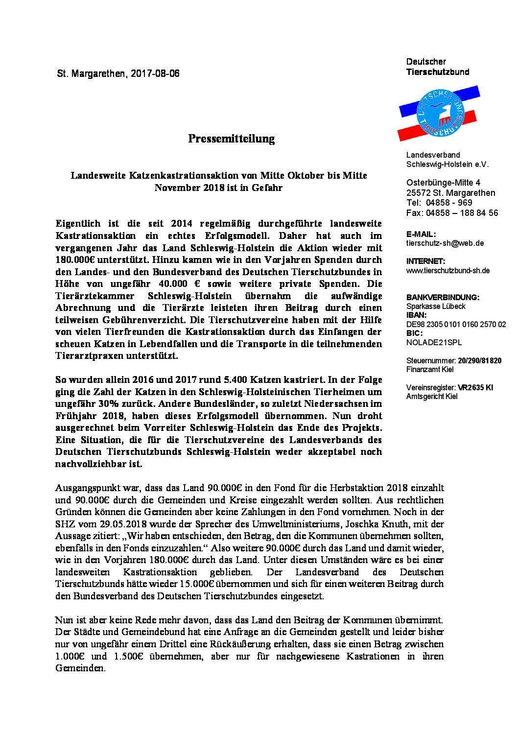 Pressemitteilung wg. Kastrationsaktion 2018