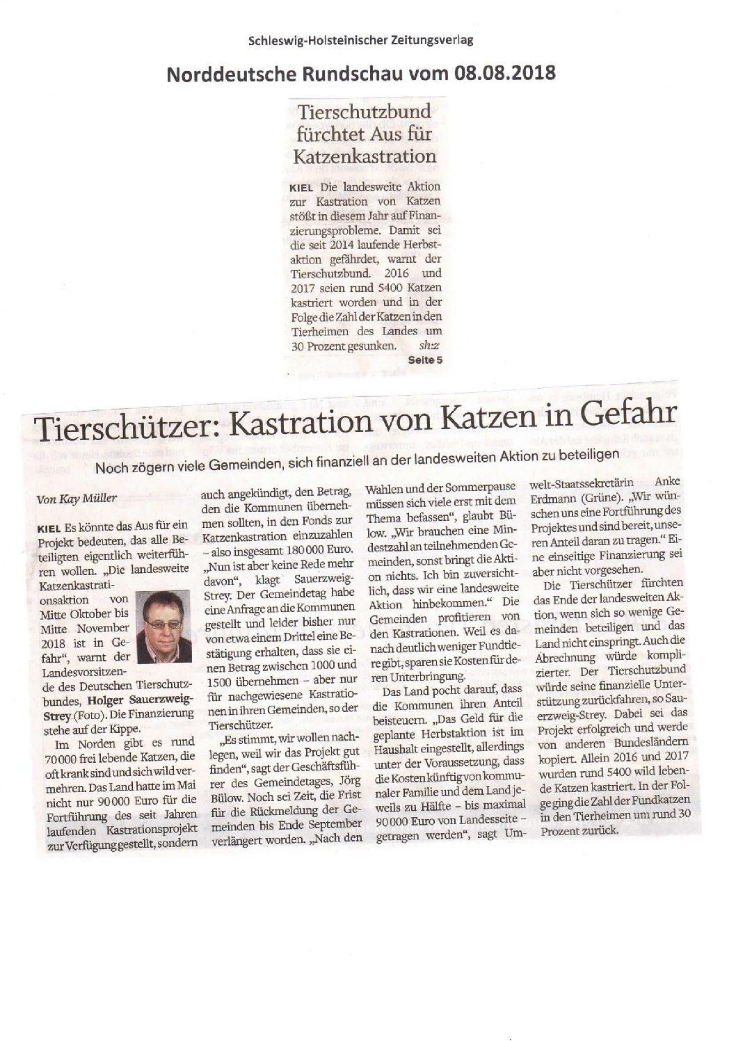 Zeitungsberichte wegen der Kastrationsaktion 2018